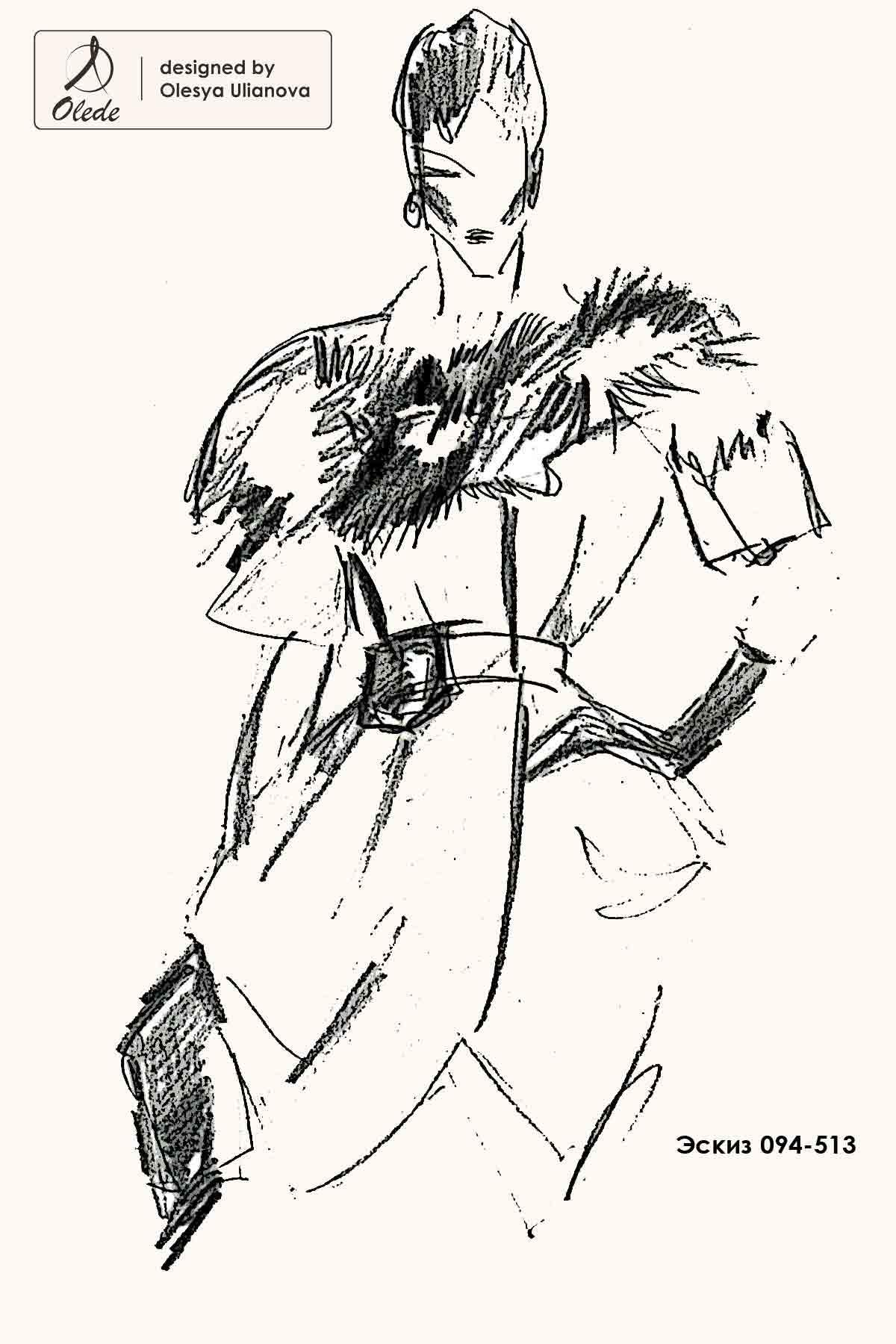 Эскиз пальто с лисой