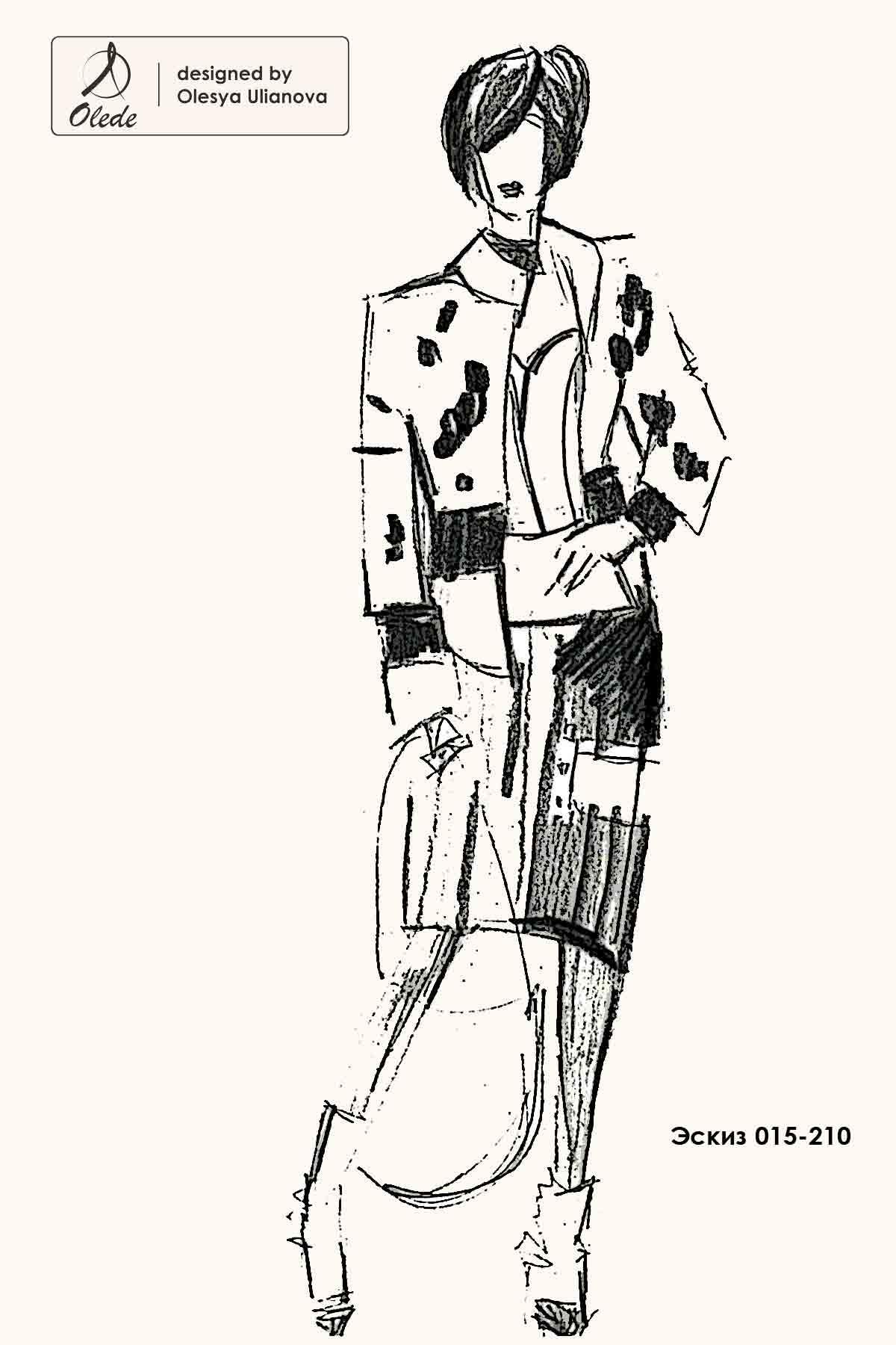 Эскиз платья и куртки