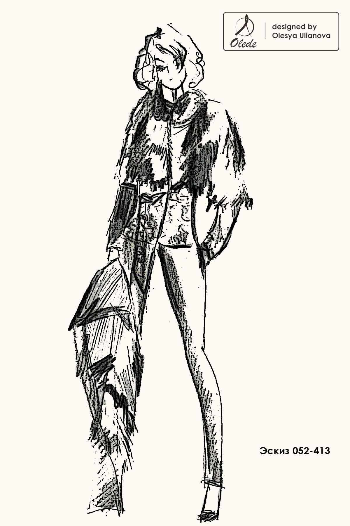 Эскиз куртки из чернобурки