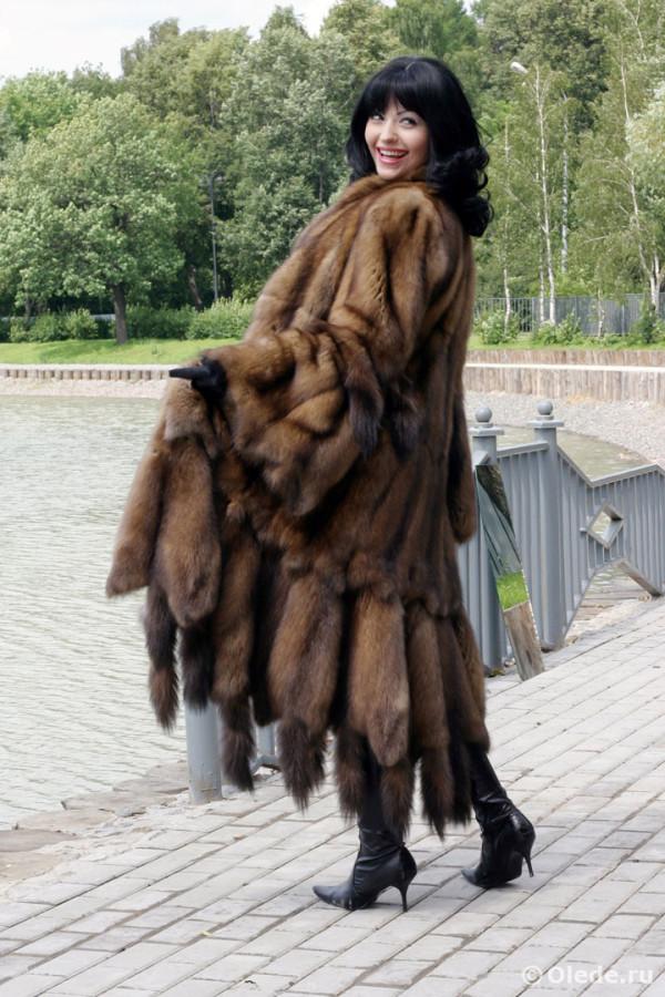 Шуба из баргузинского соболя енисейского байкальского русского с длинными рукавами и воротником 2