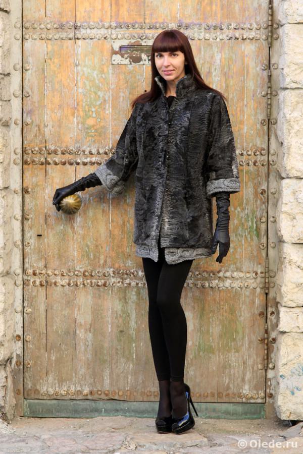 Шуба из меха каракуля swakara. Пальто из каракульчи (4)
