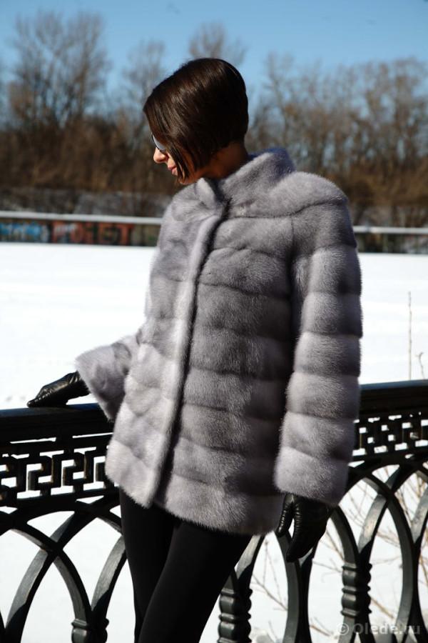Шуба норковая серая голубая сапфир поперечная полушубок автоледи пальто1