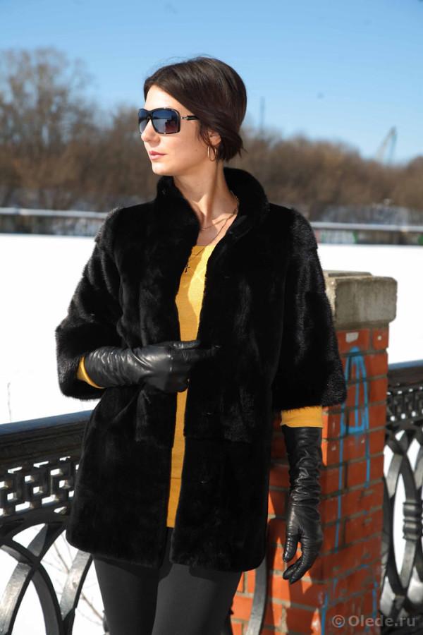 шуба пальто полушубок норковая стриженная эпилированная щипанная черная темная автоледи длинная1