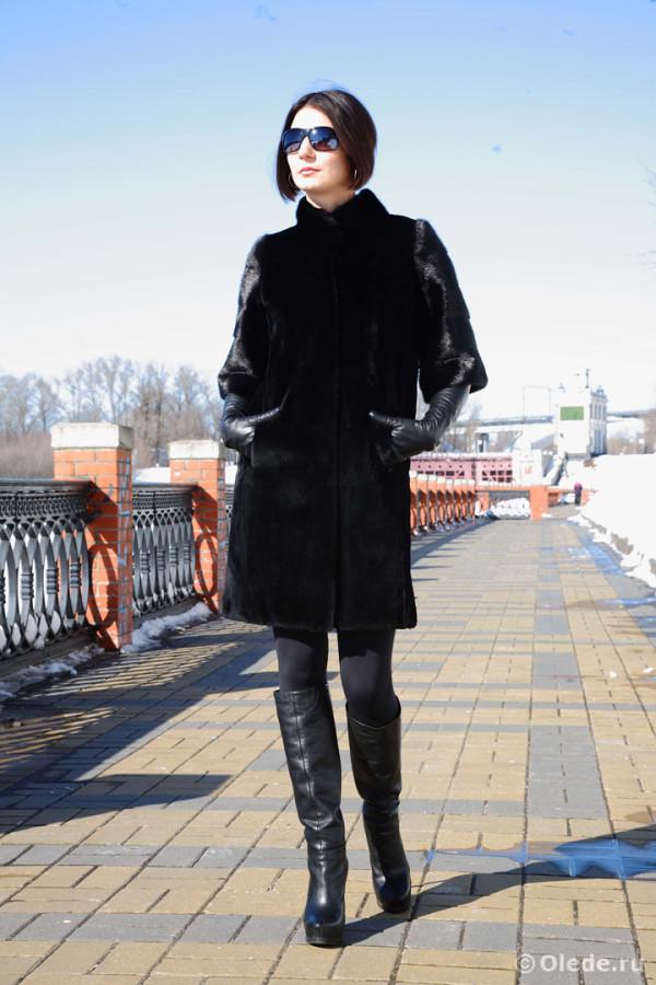 шуба пальто полушубок норковая стриженная эпилированная щипанная черная темная автоледи15