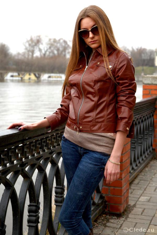 Дизайнерская брендовая кожаная куртка коричневая темно рыжая 2