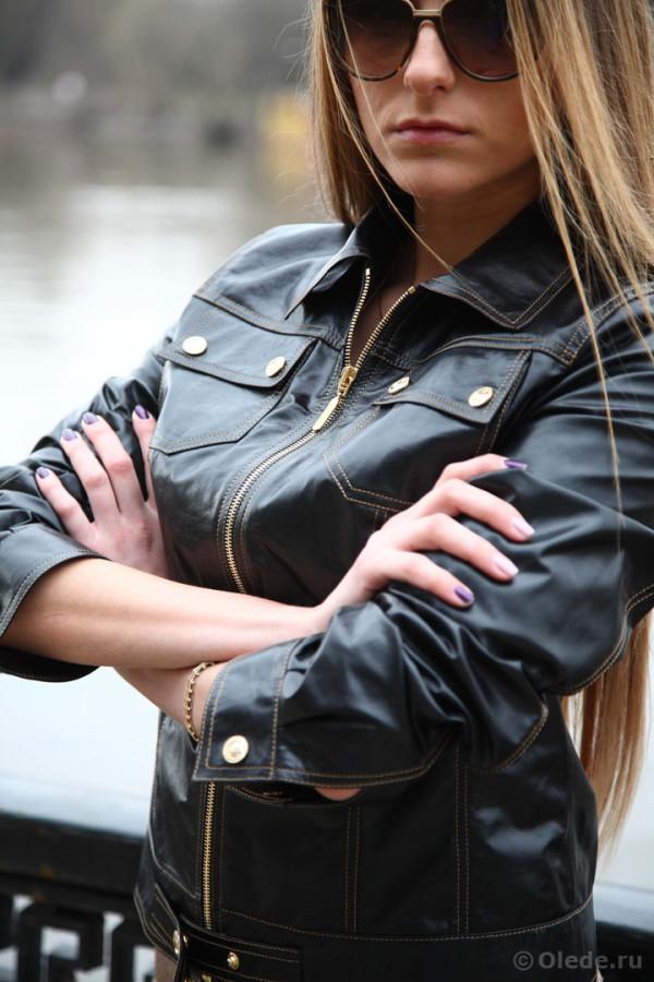 Дизайнерская молодежная брендовая куртка кожаная черная3