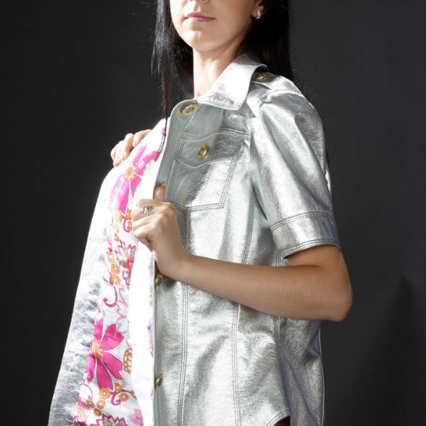 Кожаная куртка-блузка рубашка