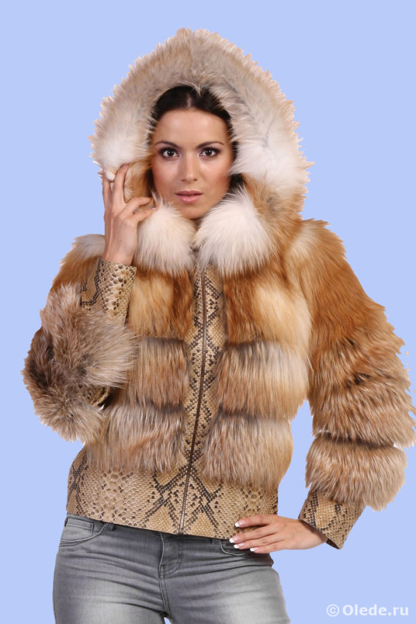 Куртка из рыжей лисы шуба пальто автоледи с капюшоном и кожаной отделкой