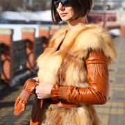 Куртка из рыжей лисы трансформер