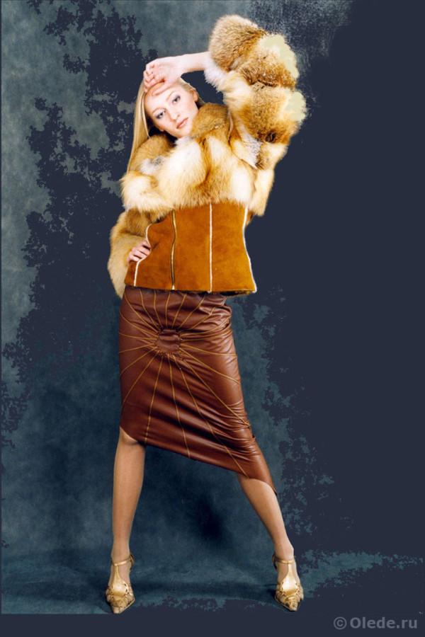 Куртка меховая из рыжей лисы