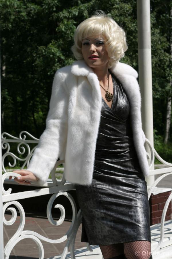 Куртка полушубок из белой норки (4)