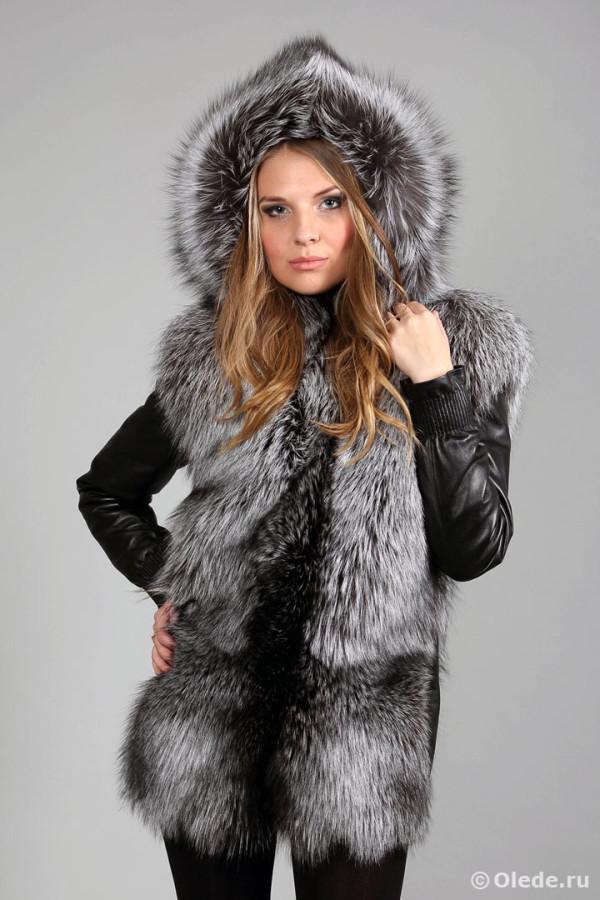 Меховая жилетка-куртка трансформер из серебристо-черной финской лисы чернобурки 4