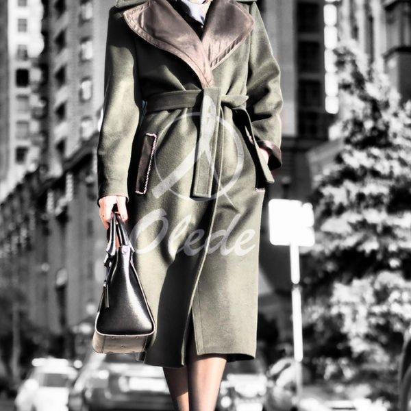 Пальто с отделкой из перфорированной кожи