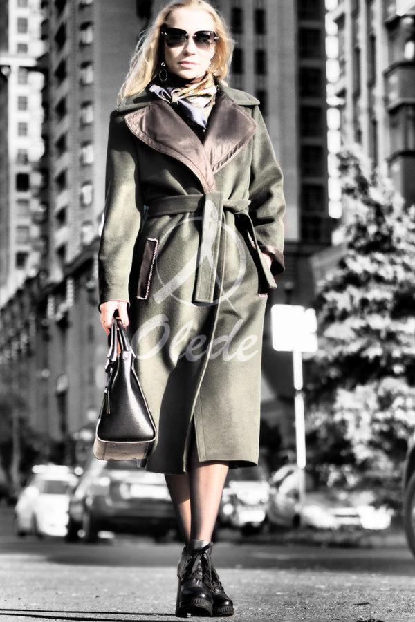 Пальто с отделкой из перфорированной кожи (5)